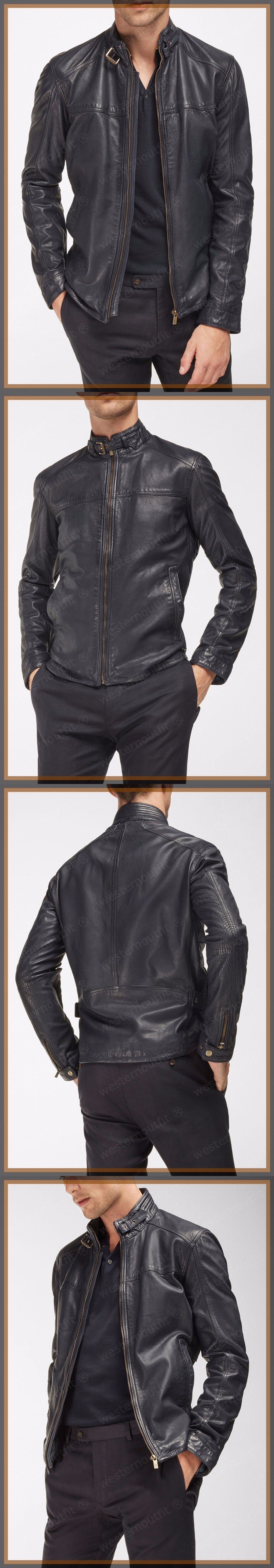 Men Coats And Jackets: New Mens Genuine Lambskin Leather Jacket Black Slim Fit Motorcycle Jacket BUY IT NOW ONLY: $111.91