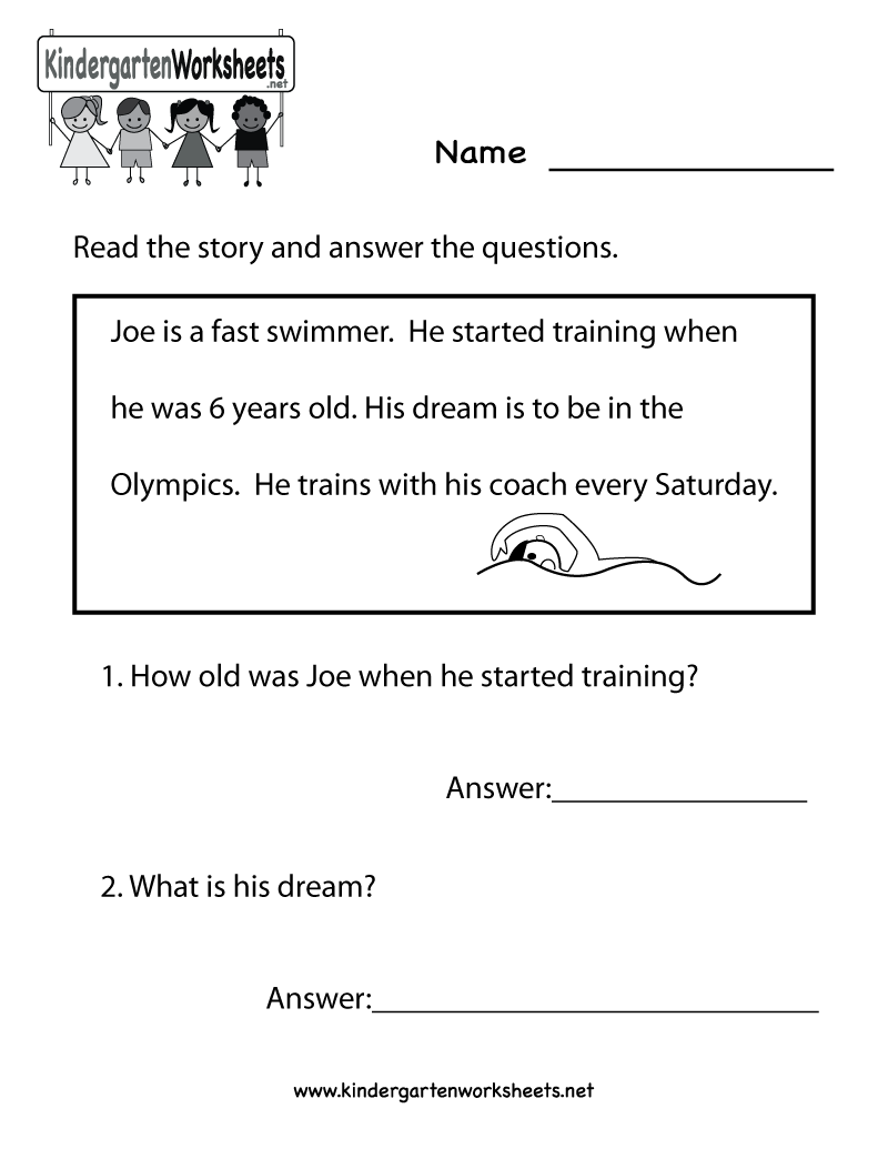 Worksheet Kindergarten Comprehension Worksheet 17 best images about reading worksheets on pinterest children word families and free phonics worksheets