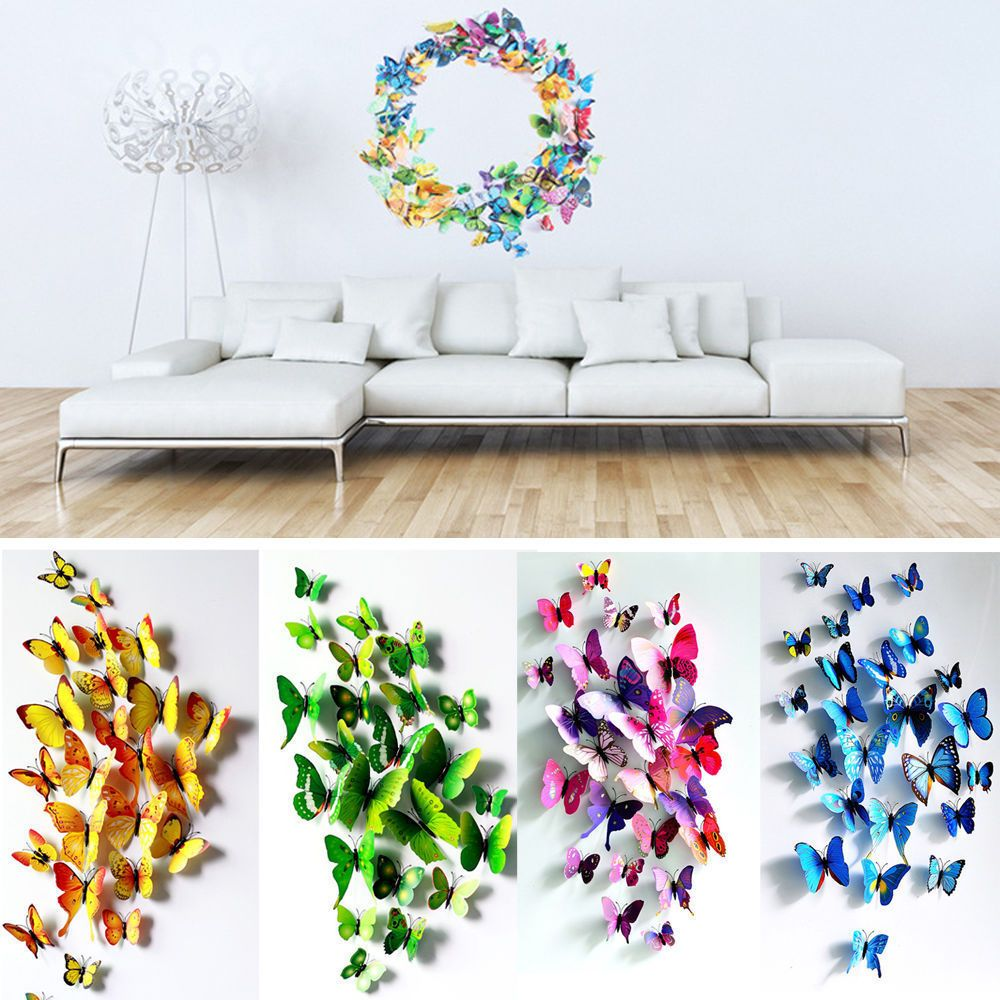 12/24 PCS 3D Butterfly Sticker Art Design Decal Wall Stickers Home Decor  Room Part 80