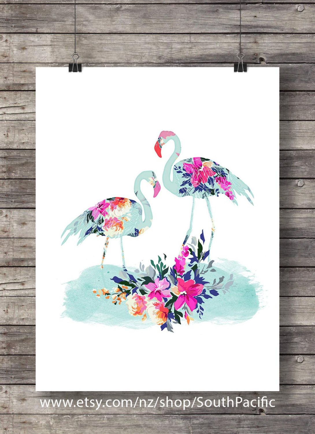 watercolor flamingo floral art print printable wall art flowers