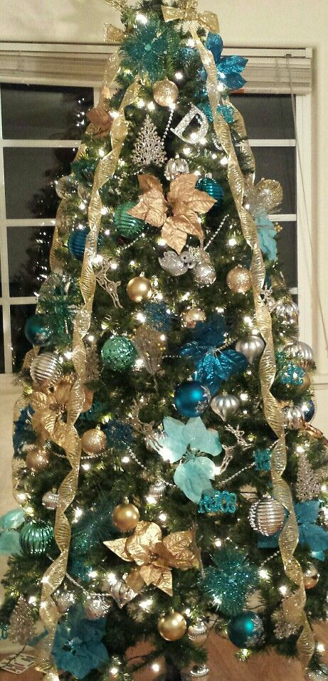 Gold Silver And Turquoise Christmas Tree Turquoise Christmas Turquoise Christmas Tree Christmas Tree Themes