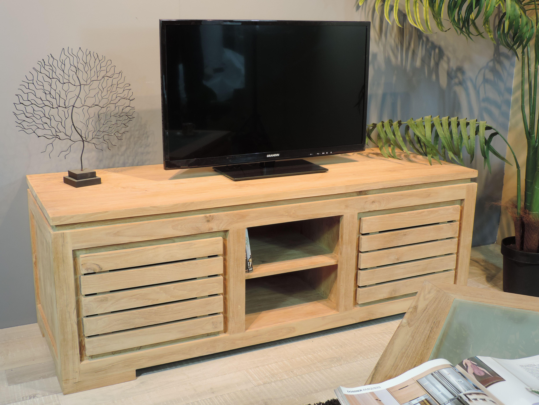 Meuble Tv Bois En Teck Zen 140 Mobilier De Salon Meubles De Salon En Bois Et Meuble Tv Bois