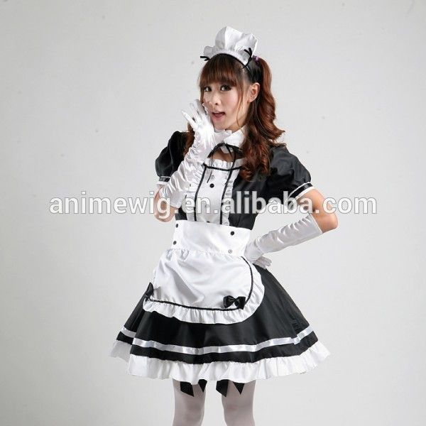 COCONEEN Womens Anime Cosplay French Apron Maid Fancy Dress Costume