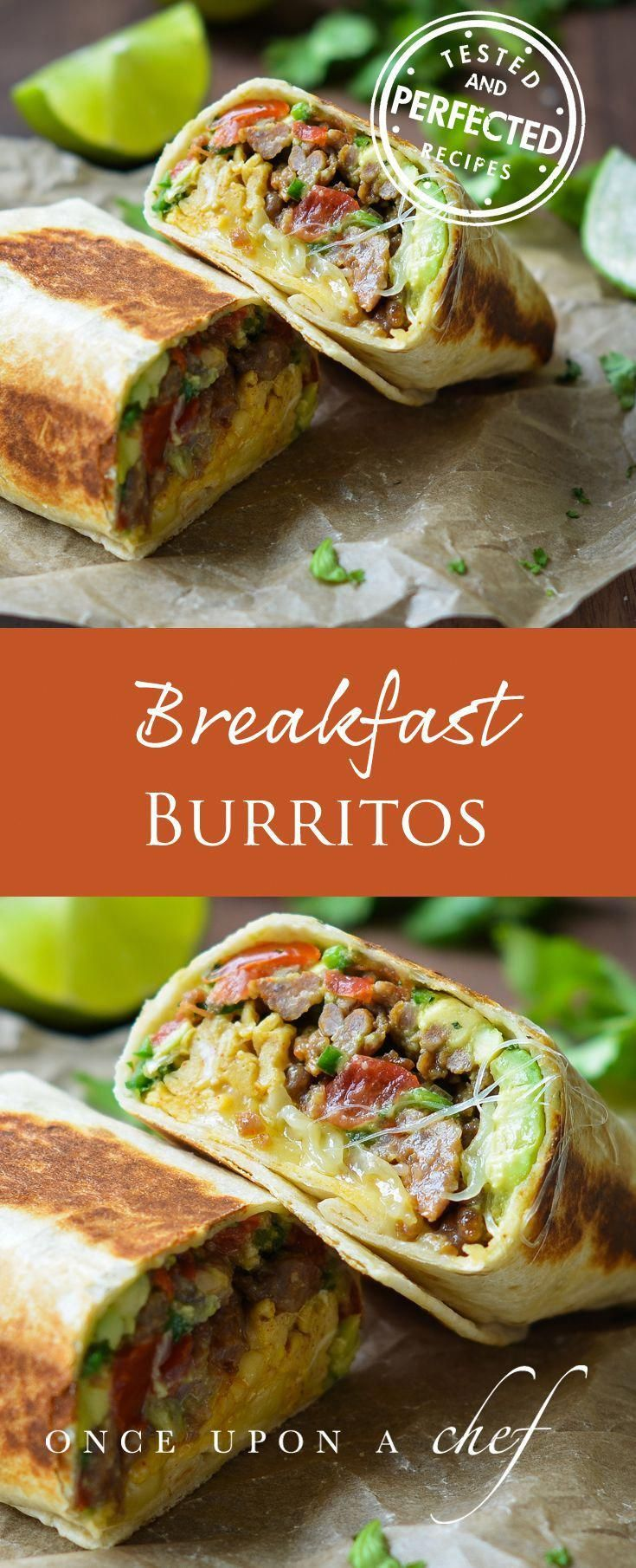 "Filled with spicy sausage, smoky scrambled eggs, cheese, and a bright, fresh avocado-tomato salsa, these breakfast burritos are not only easy to make, but also delicious any time of day. We especially love them for ""brinner."""