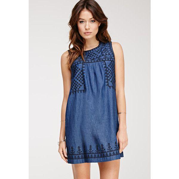 Love 21 Women's  Contemporary Embroidered Denim Shift Dress featuring polyvore, women's fashion, clothing, dresses, full length dress, blue denim dress, sleeveless dress, blue embroidered dress and pocket dress