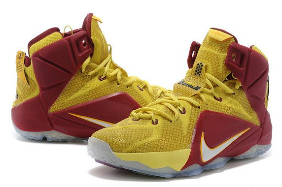 sports shoes 8cb1d 6e58a Free Shipping Only 69  LeBron 12 Homecoming King Cleveland Cavs For6iven  Away Sonic Yellow Wine