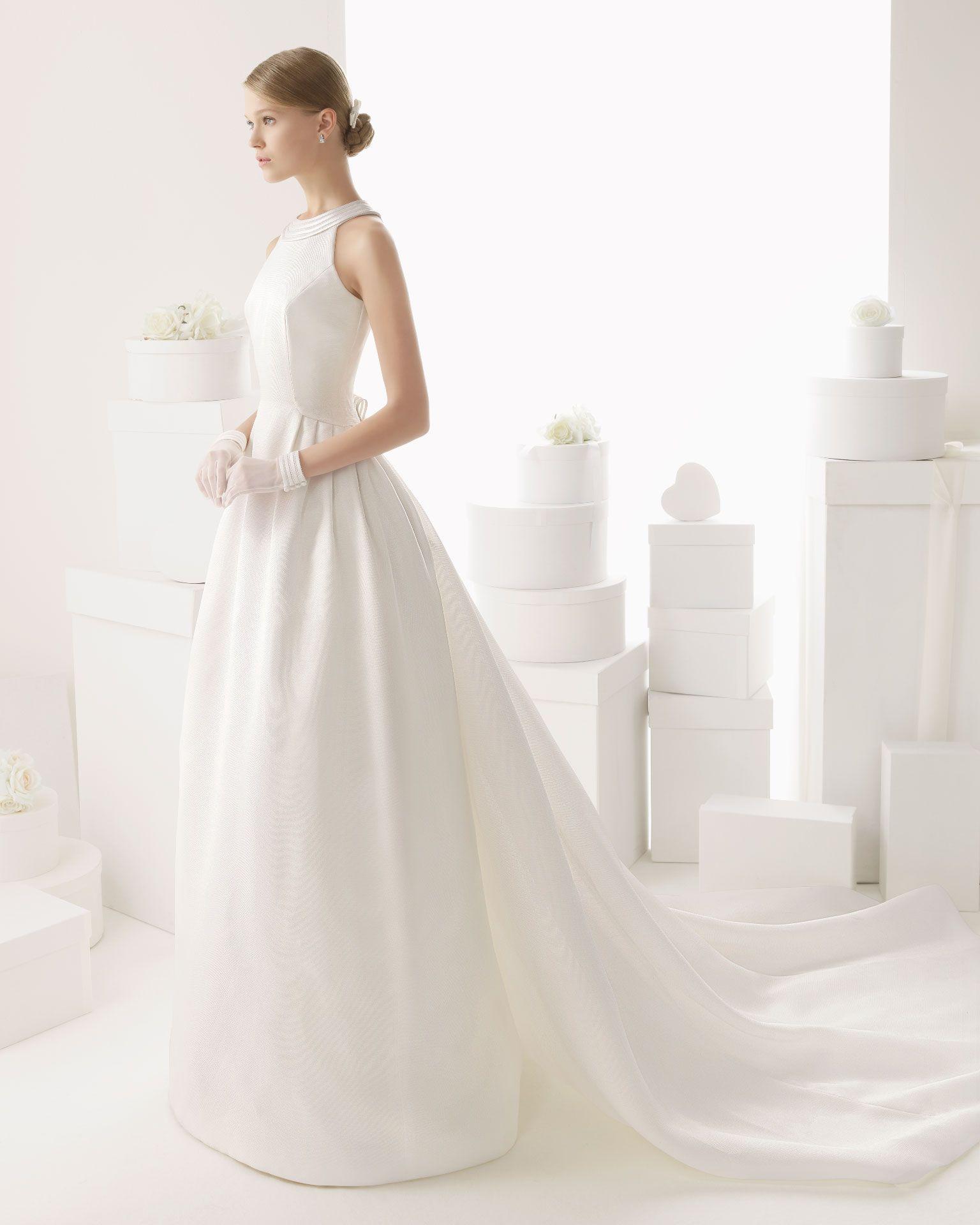 CAUDAL   Silk gazar dress and train with hemstitch detailing, in a ...
