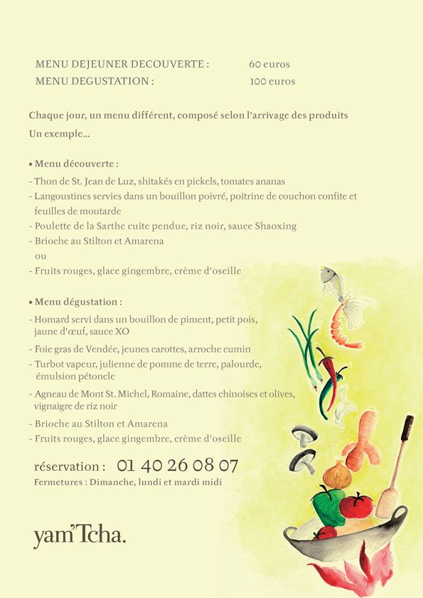 Tcha Paris yam'tcha, paris | • graphic design + print • | pinterest | menu