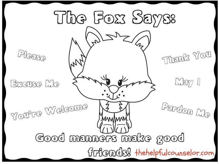 manners coloring pages Manners Lesson   Social Skills   The fox says coloring page  manners coloring pages