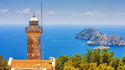 Coastal summer landscape – view of the lighthouse on the Cape Gelidonya, Antalya Province in Turkey – Buy this stock photo and explore similar images at Adobe Stock