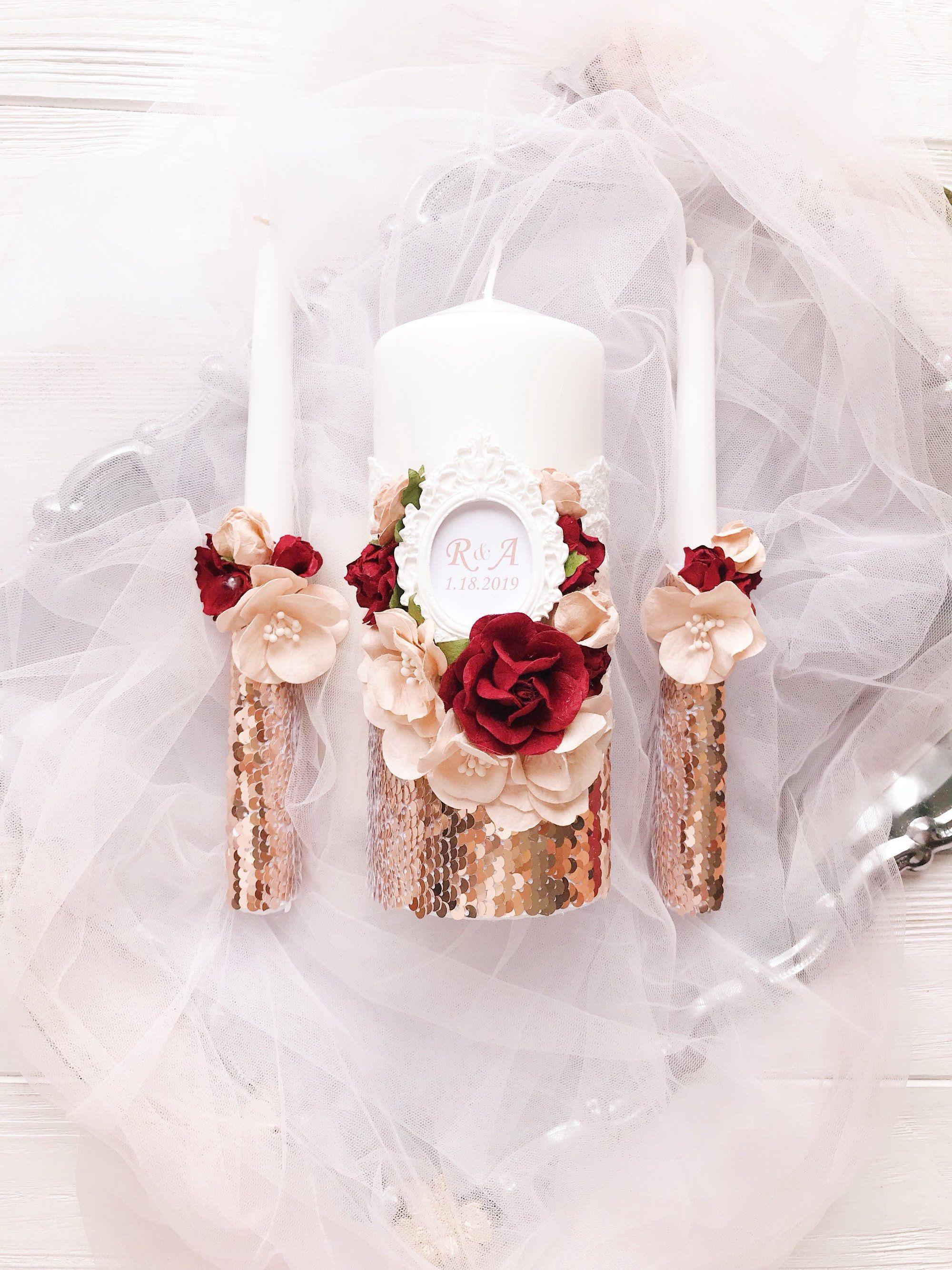 Rose Gold Wedding Candles Rose Gold Wedding Unity Candle Set Burgundy Unity Candles Personalized Wedding Candles