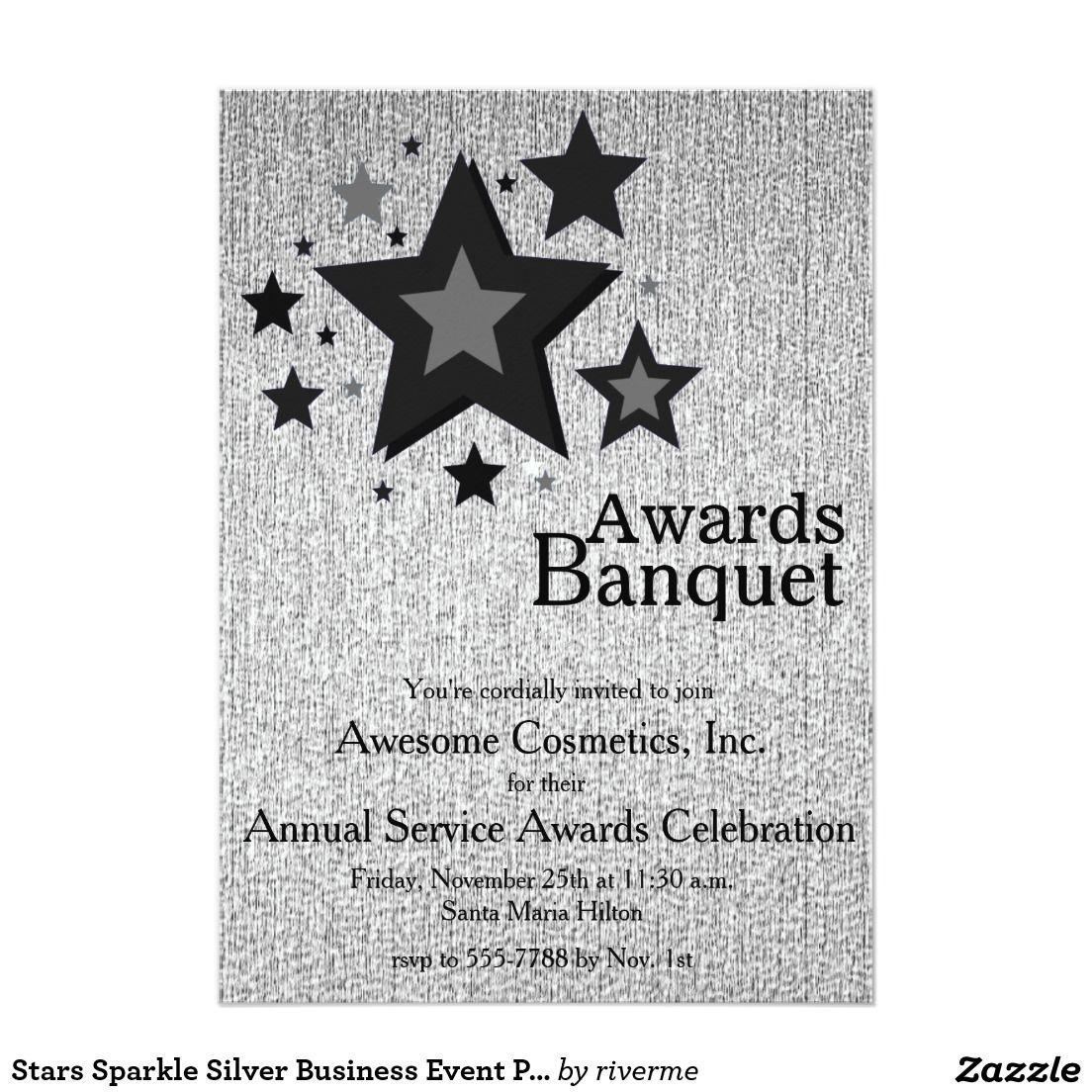 Stars Sparkle Silver Business Event Party Invite 5\