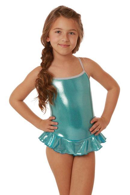 9d24e8e001504 Cruz Frozen Blue Metallic Lame Skirted Girls Swimsuit | Swimming ...