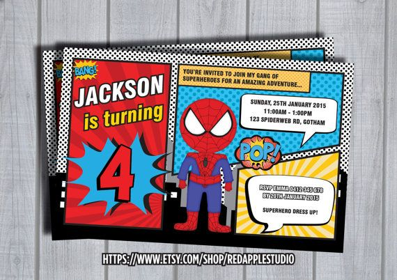 SPIDERMAN INVITATION Personalized Invite Custom Birthday Card Spiderman Party Supplies Superheroes Superhero Printable Comic Book