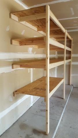 Very Easy Garage Shelving How To Garage Garage Shelf Garage Shelving Garage Organization Tips