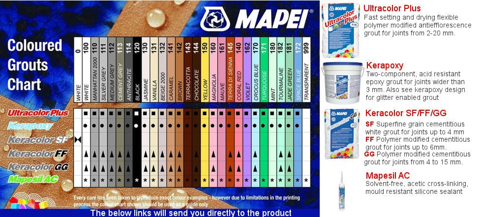 Mapei grout colour chart | Bathroom Bits FIRST CHOICE ...