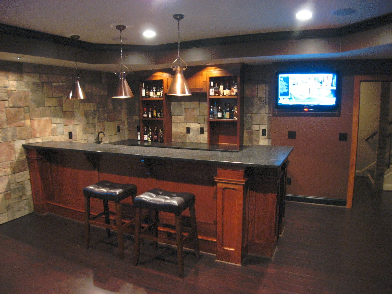 Attractive Custom Basement Bar With Stone Veneer On The Walls