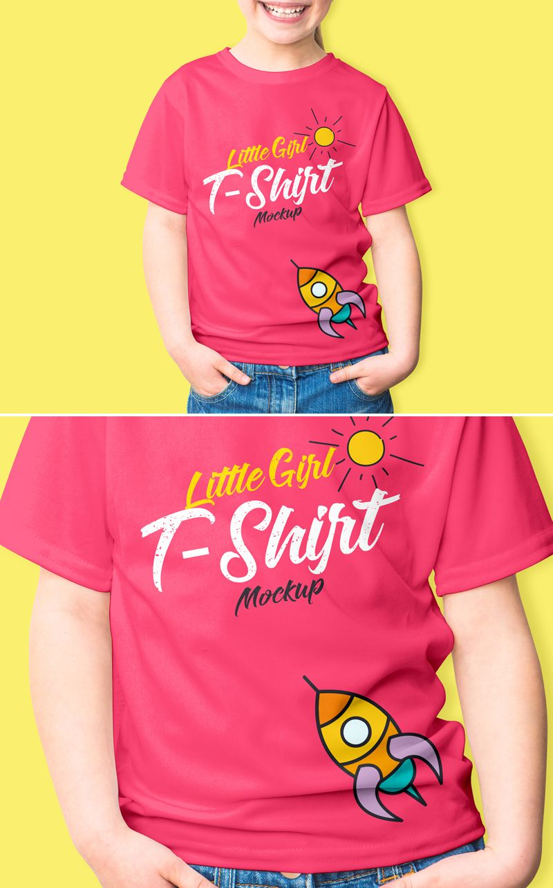 Download Free Smiling Little Girl T Shirt Mockup Psd 2018 Tshirt Mockup Shirt Mockup Girls Tshirts