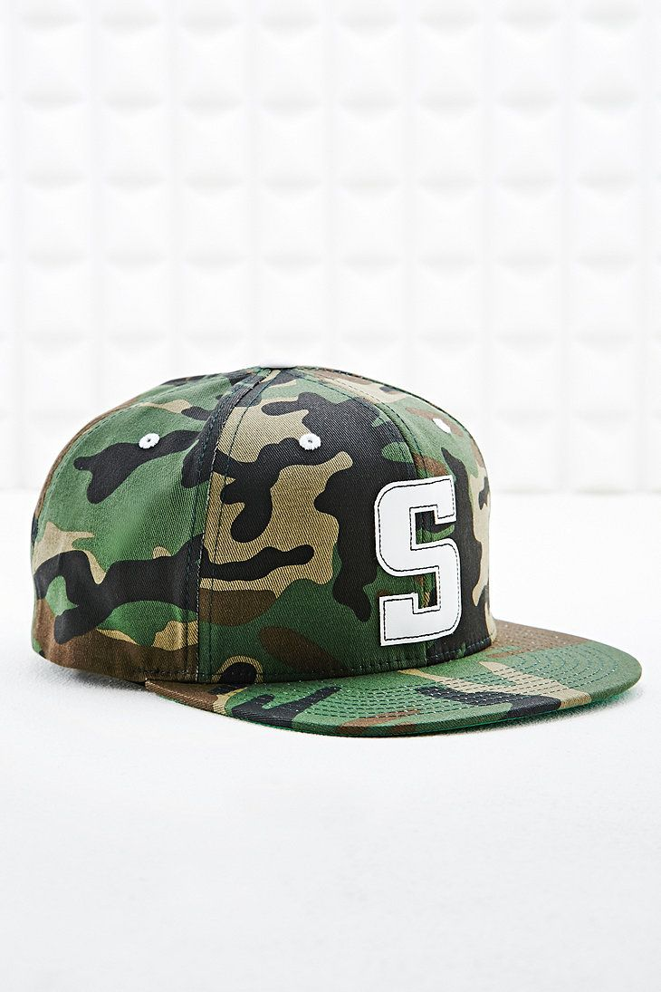807af375fba15 Stussy Leather Snapback Cap in Camouflage