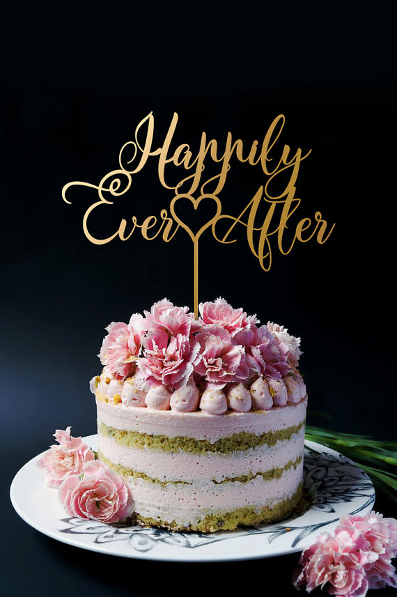 Happily Ever After Wedding Cake Topper Personalized Gold