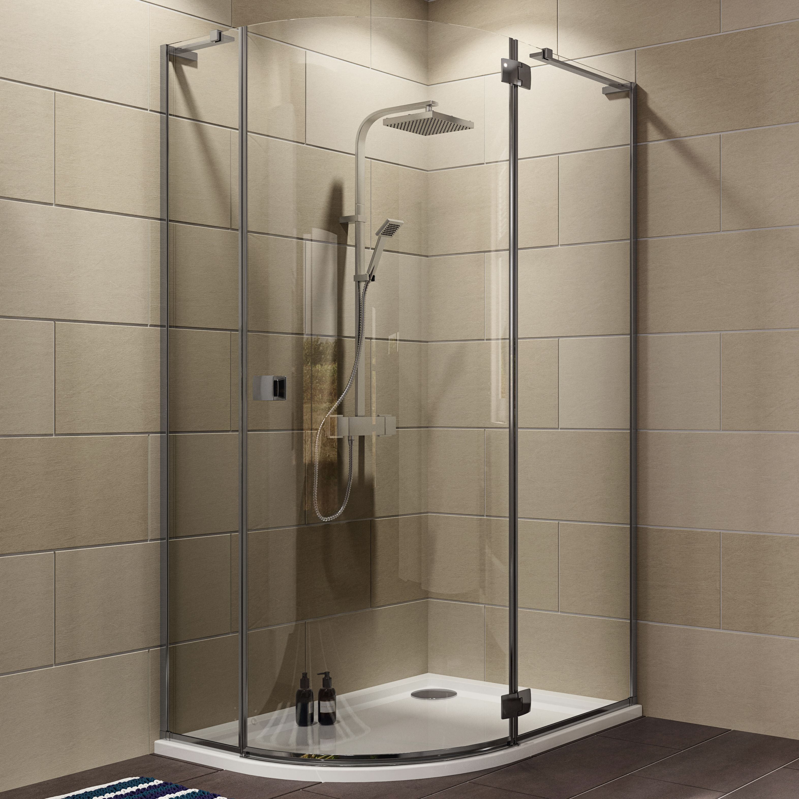 Cooke & Lewis Luxuriant Offset Quadrant Shower Enclosure with Hinged ...