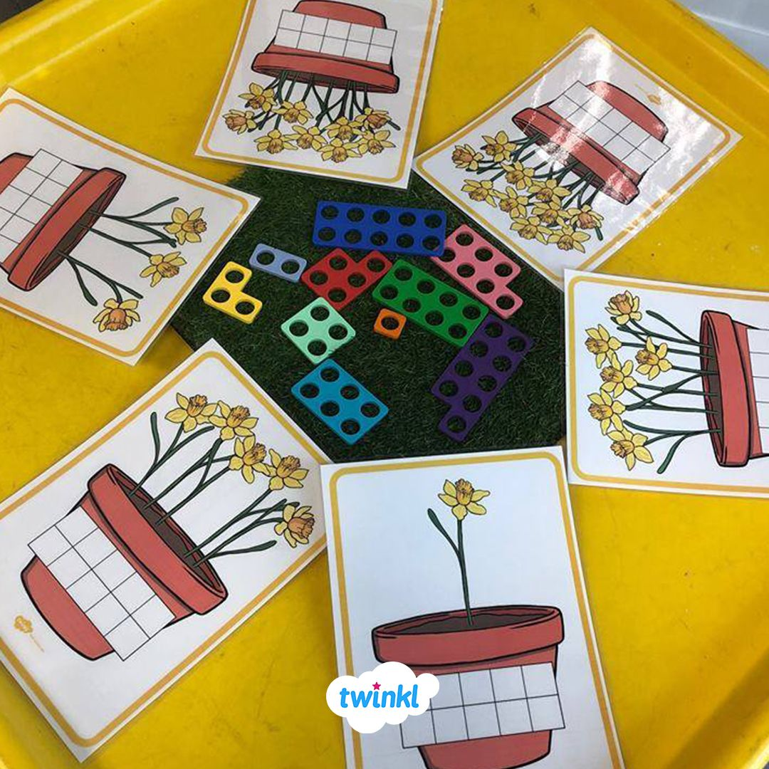 Spring Themed Maths Numicon Tuff Tray Idea Download Our
