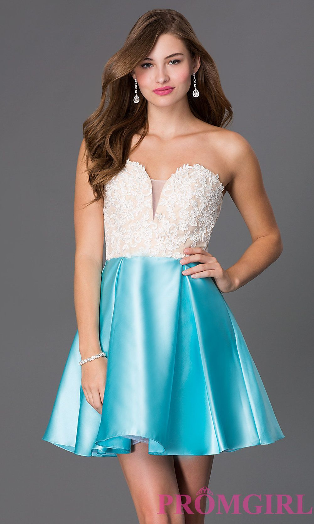 Image of short strapless lace bodice corset back babydoll sweetheart ...