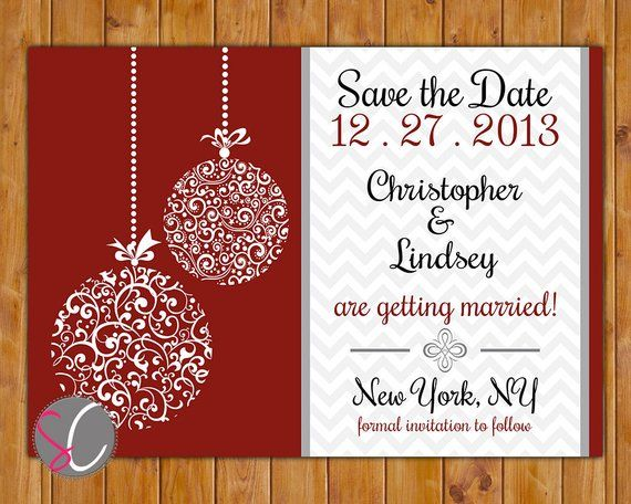 41cf95e12921 Save the Date Chevron Christmas Wedding Card Ornate Ornament Company Christmas  Holiday Party Red Whi