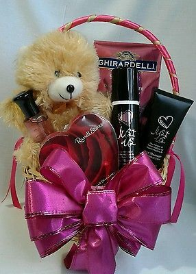 Valentine's Day gift basket for her with fragrance set, chocolate, teddy bear
