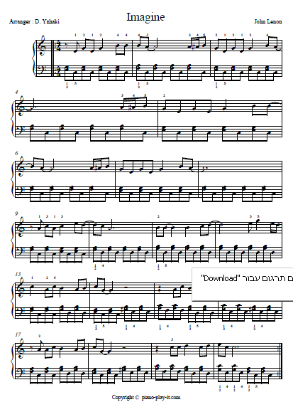 This Imagine Piano Sheet Music Is Made Especially For Beginners Who