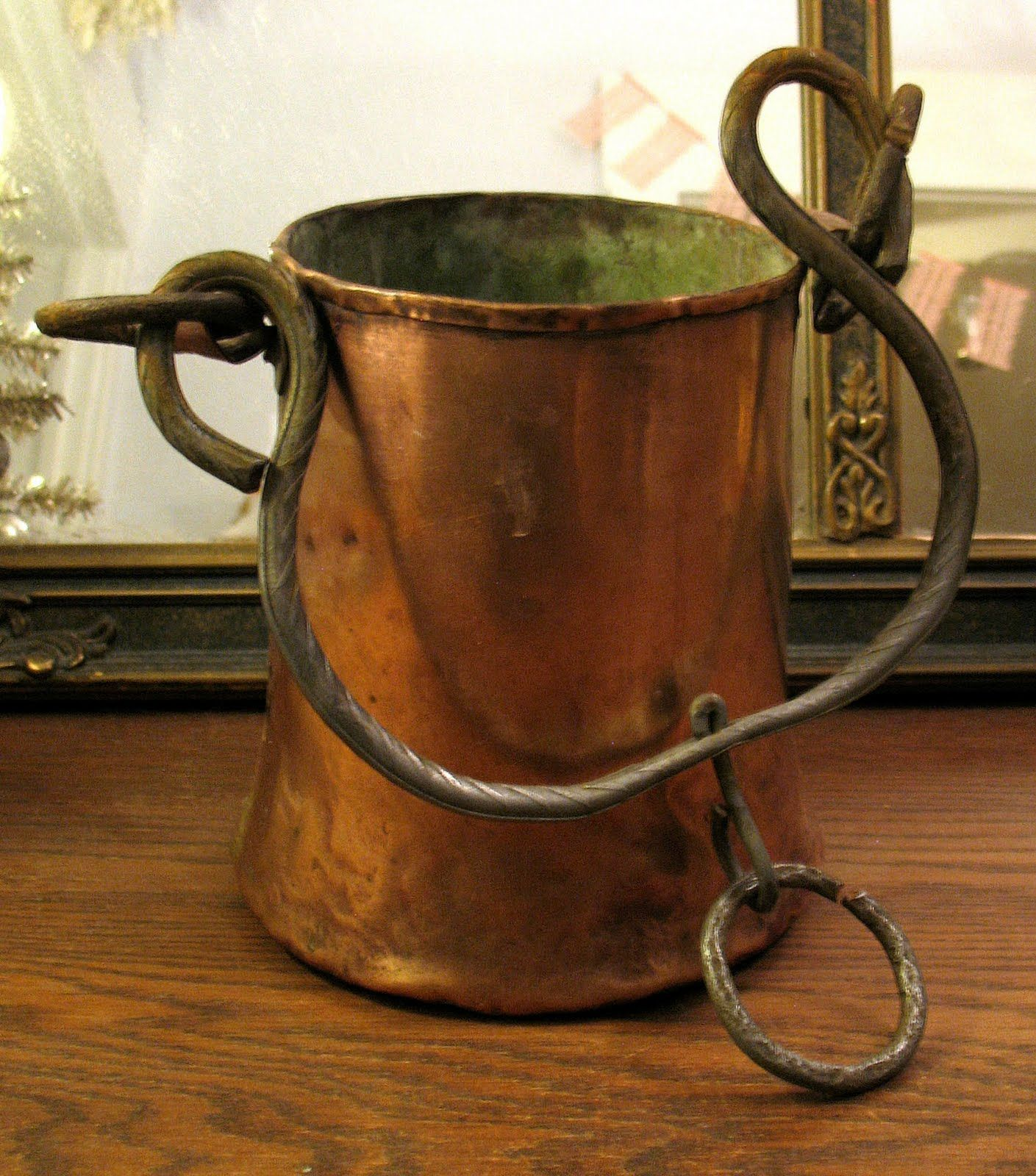 antique large hand forged hammered copper cauldron pot with iron