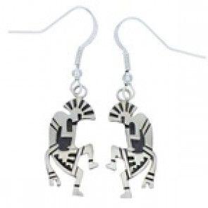 Native American Kokopelli Robert Gene Silver Hook Earrings AW77116