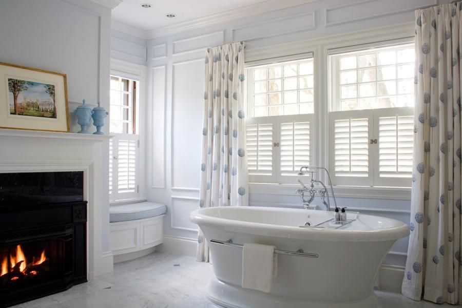Fireplace In Bath With Soaking Tub Bathroom Window Curtains Traditional Bathroom Bathroom Design Inspiration