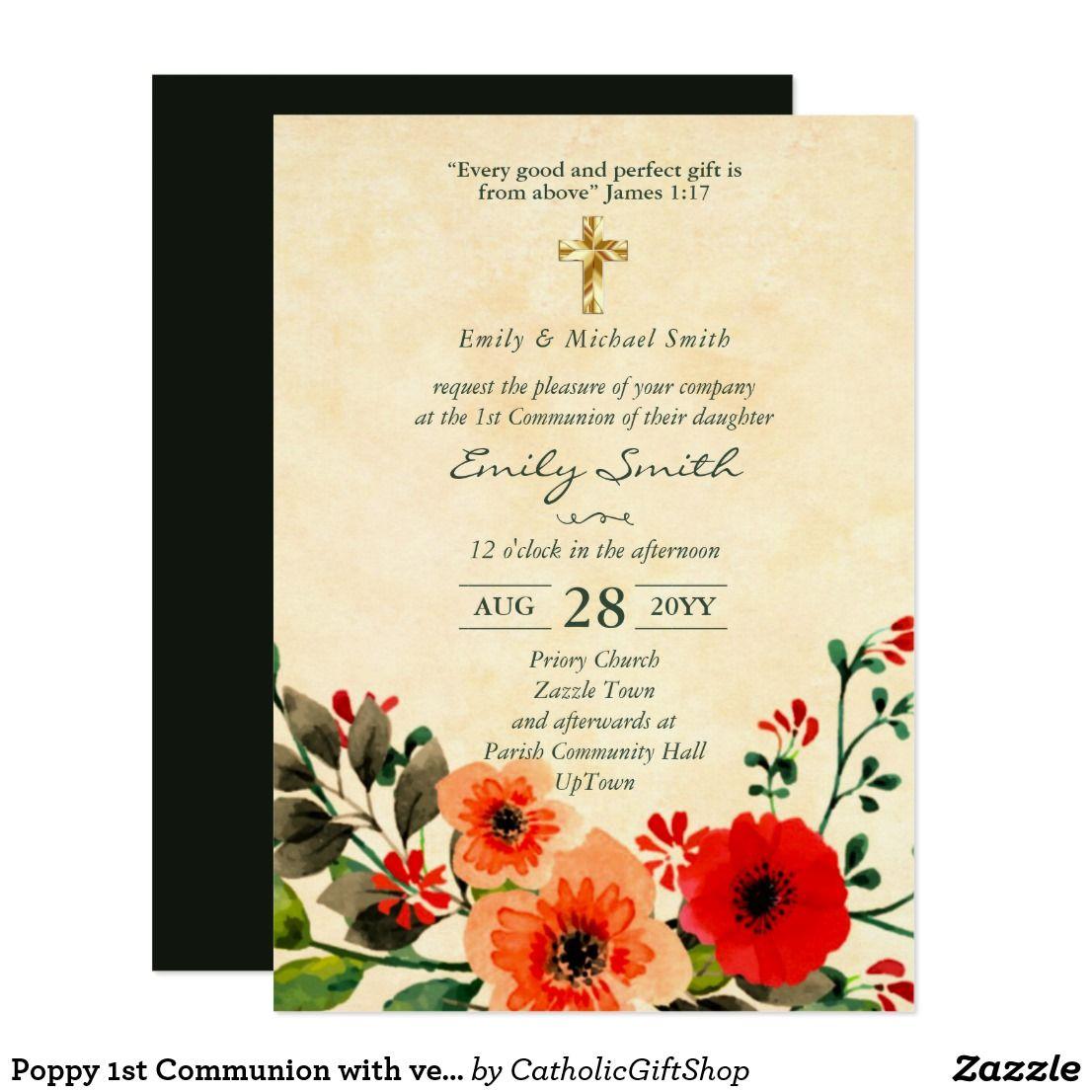 First Holy Communion Invite Girl Poppy Verse