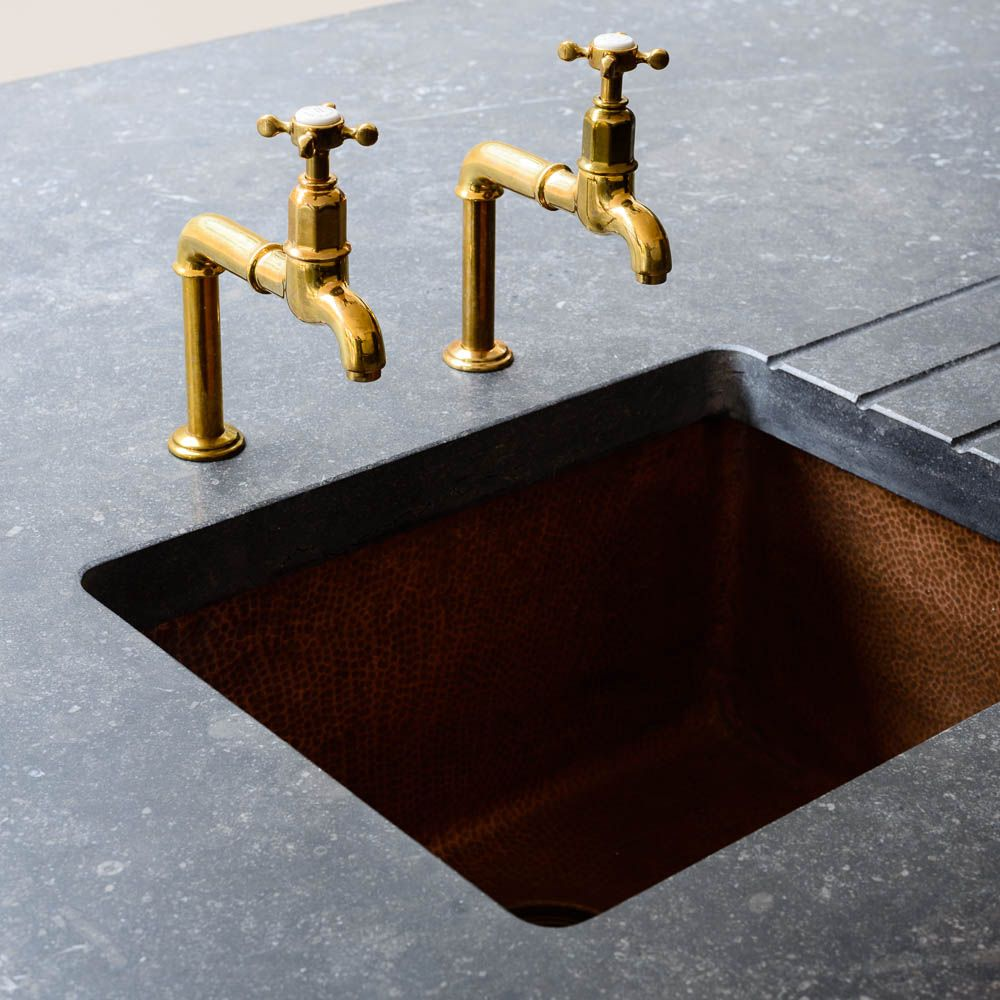 Stunning Hammered Copper Sink and Aged Brass Mayan Taps By Devol
