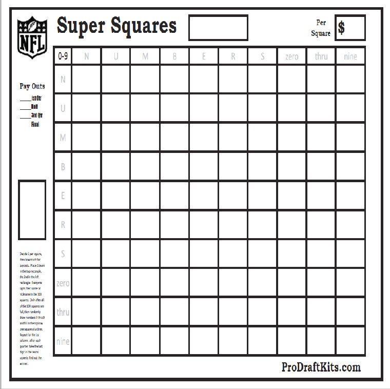 Super Bowl Squares Fantasy Football Weekly Party Game Tailgating