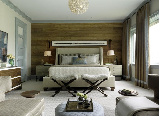 light neutral bedroom with light blue trim. wood wall. Pacific Heights Transformations contemporary bedroom