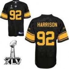 Steelers  92 James Harrison Black With Yellow Number Super Bowl XLV  Stitched NFL Jersey 302dcfac5