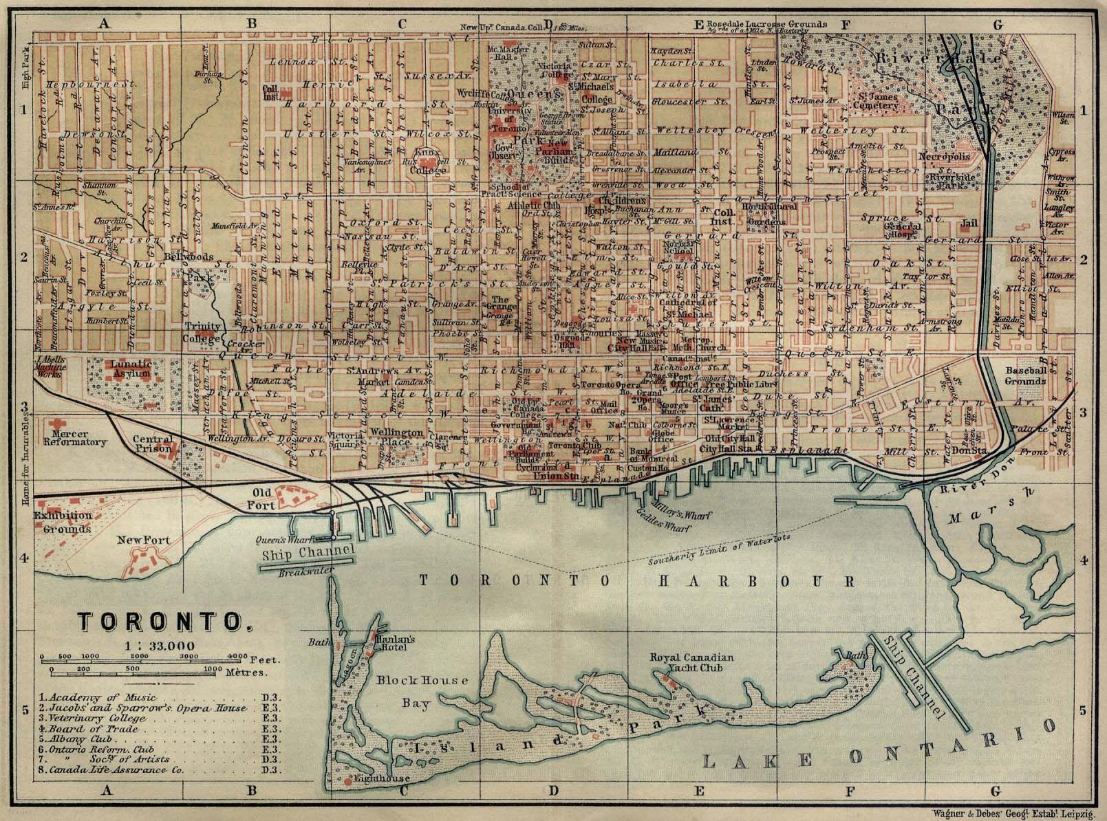 Antique Map Of Toronto 1894 - Ontario