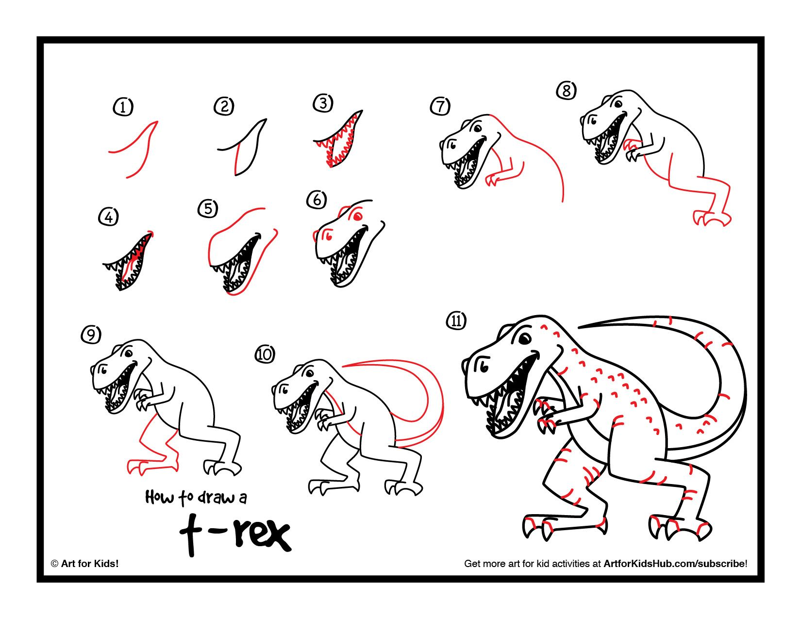how to draw a realistic t rex art club members art for kids hub - Children Drawing Book Free Download