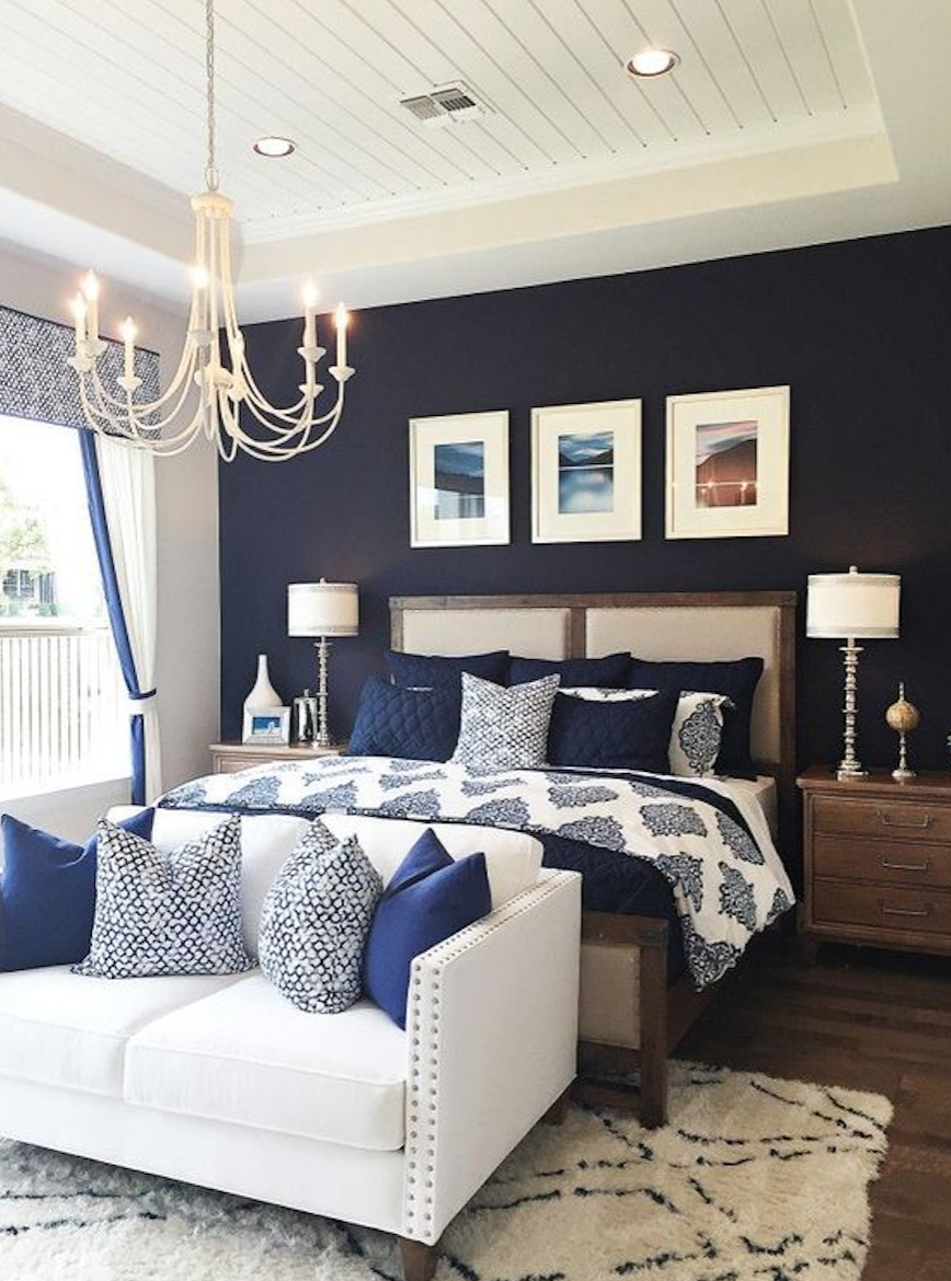 Navy Blue Accent Wall Master Bedroom Homyracks