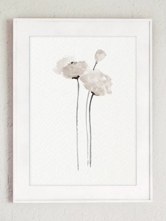 White Poppy Watercolour Painting Floral Taupe Poppies Art Print