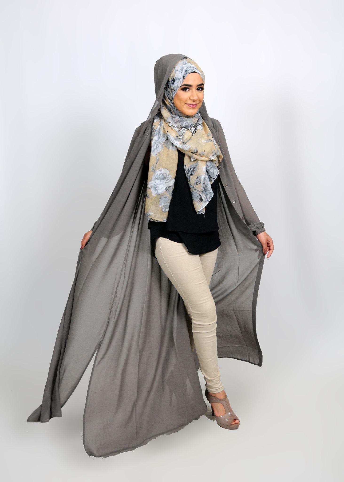 7ec99d23e3c Abaya Cardigan smoke grey chiffon abaya buttoned-down cardigan dress