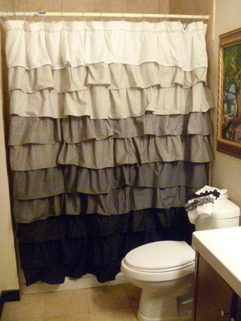 SALE White To Black Ruffle Shower Curtain By Ashleeriley On Etsy 11000