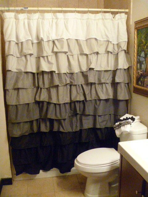 White To Black Ruffle Shower Curtain Ruffle Shower Curtains Diy