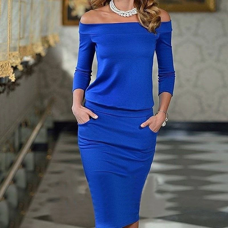 Photo of Long Sleeve Slash Neck Sexy Night Club Wear Black Blue Celebrity