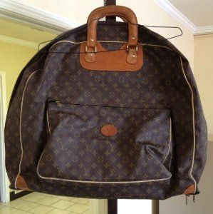 3ef3c913f91 Authentic Louis Vuitton Leather Garment Bag Luggage Suitcase Hanging ...