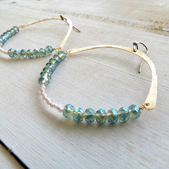 Green beaded swing earrings, hammered brass earrings, handmade hoops, hoop earrings,gold #design #Jewelry