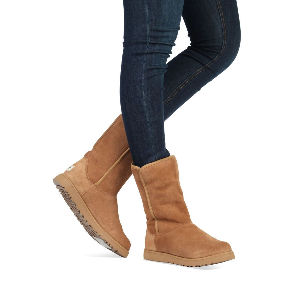 da6511791f UGG AUSTRALIA Boots Uggs Michelle Slim Suede Shearling Chestnut Booties 8  New  UGGAustralia  MidCalfBoots