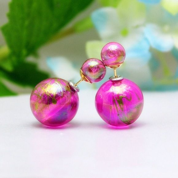 2 FOR 10 Pink crackle double sided earrings Hot pink Jewelry Earrings